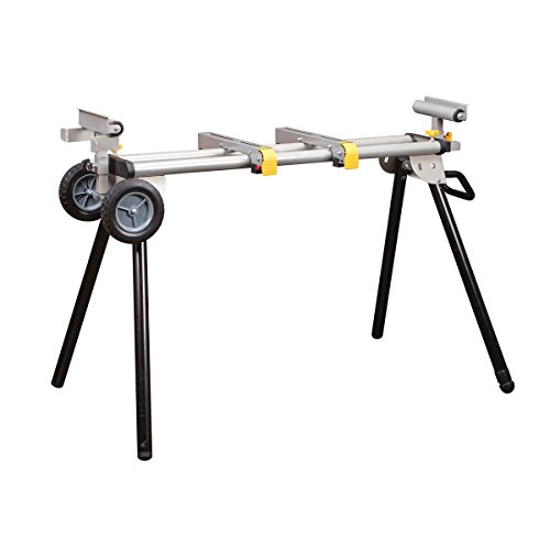 Heavy Duty Folding Mobile Miter Saw Stand 400 Lbs. Load Capacity; Rugged tubular steel legs with levelers for uneven ground; 7-3/4 in. solid rubber tires with all-terrain tread