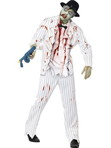 Mens Black or White 1920s Corpse Dead Zombie Gangster Halloween Fancy Dress Costume Outfit (Medium (38-40