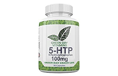 Green Day Vitamins 5-HTP 100mg Dietary Supplement – 5-Hydroxytryptophan Griffonia Simplicifolia Seed Extract – All-Natural BPA-Free – Stress Relief – Helps with Anxiety and Better Mood