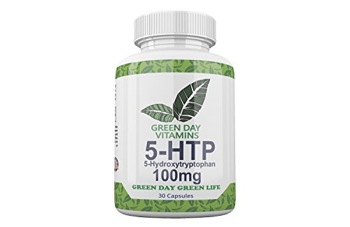 Green Day Vitamins 5-HTP 100mg Dietary Supplement - 5-Hydroxytryptophan Griffonia Simplicifolia Seed Extract - All-Natural BPA-Free - Stress Relief - Helps with Anxiety and Better Mood