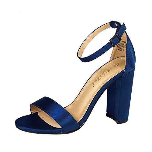 Fabee Rad Satin Ankle Strip Sandal with Chunky Block Heel Single Band Soft Padded Open Toe Pumps for Daily, Party or Wedding Royal Blue