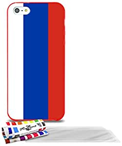 """Carcasa Flexible Ultra-Slim APPLE IPHONE 5 de exclusivo motivo [Rusia Bandera] [Roja] de MUZZANO  + 3 Pelliculas de Pantalla """"UltraClear"""" + ESTILETE y PAÑO MUZZANO REGALADOS - La Protección Antigolpes ULTIMA, ELEGANTE Y DURADERA para su APPLE IPHONE 5"""