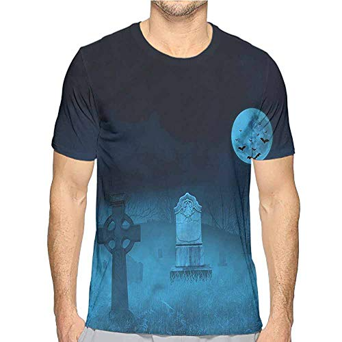 bybyhome Mens t Shirt Gothic,Ghostly Graveyard Halloween HD Print t Shirt S -