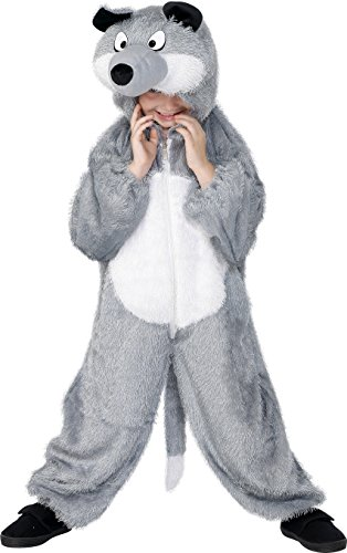 Smiffy's Children's Unisex All In One Wolf Costume, Jumpsuit with Tail and Hood, Party Animals, Ages 7-9, Color: Grey, 30788