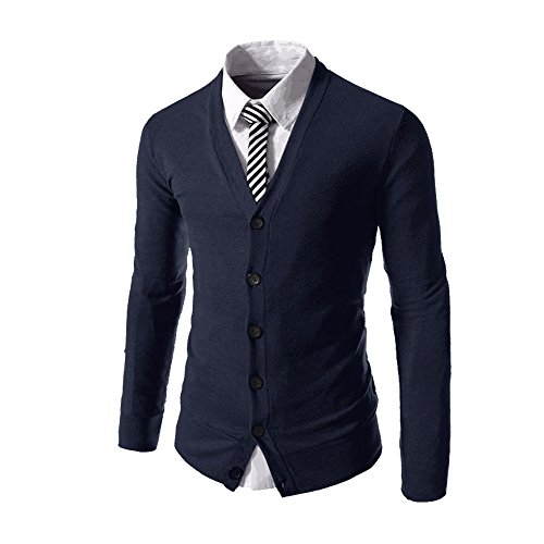 Jinidu Men's Basic Slim Fit Cardigan Sweater Casual V Neck Button Down Knitwear (V-neck Men Sweaters Cardigans)
