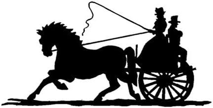 Etiqueta engomada del coche caballo dibujado carro de la calcomanía Old Timey Fashioned Buggy Etiqueta de la ventana del coche 20X10cm 2 unids
