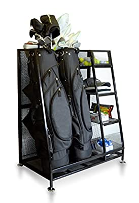 """Milliard Golf Organizer - Fit 2 Golf Bags and Other Golf Equipment and Accessories in This Handy Dual Golf Storage Rack - 32""""x16""""x37"""""""