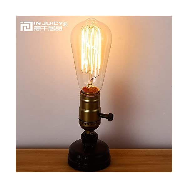 IJ INJUICY Retro Loft Rustic Vintage Industrial Steampunk Wrought Iron Edison Bulb Table Lights E27 Led Water Pipe Desk Lamps 5