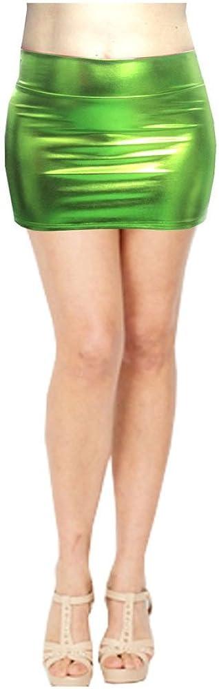 SACASUSA Shiny Stretchy Metallic Liquid Wet Look Mini Skirts 10 Colors