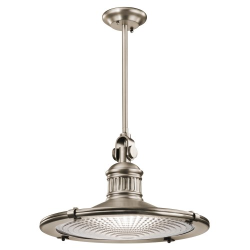 Kichler Lighting 42440AP Sayre 1LT Pendant, Antique Pewter Finish with Clear Fresnel Glass Lens (Pewter Antique Lighting)