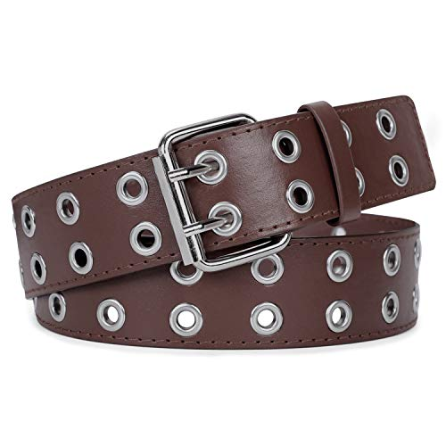 WERFORU Double Grommet Belt Brown 2 Holes Belt PU Leather Punk Belt for Women Dress Cosplay(Brown,Pant size below 40Inch) -