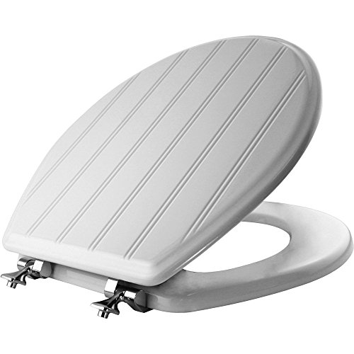 MAYFAIR Beadboard Toilet Seat with Chrome Hinges will Never Loosen, ROUND, Durable Enameled Wood, White, 29CPA (Sculptured Seat)