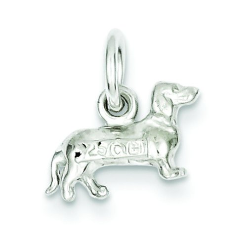 Sterling Silver Dachshund Dog Charm Pendant Jewelry