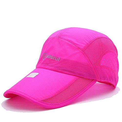 - Summer Outdoor Tourism Climbing Sunscreen Breathable Waterproof Folding Sunshade Quick Dry Baseball Cap Hat B (Rose)