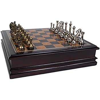 """Metal Chess Set With Deluxe Wood Board and Storage - 2.5"""" King"""