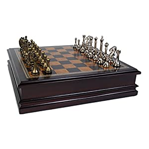 "Metal Chess Set With Deluxe Wood Board and Storage - 2.5"" King - 41 SWF8 2BItL - Classic Game Collection Metal Chess Set with Deluxe Wood Board and Storage – 2.5″ King"