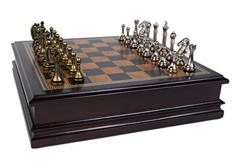 Classic Game Collection Metal Chess Set With Deluxe Wood Board and Storage - 2.5