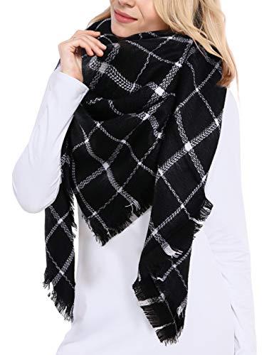 Bess Bridal Women's Plaid Blanket Winter Scarf Warm Cozy Tartan Wrap Oversized Shawl Cape (One Size, Black)