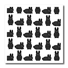 ht_25326_1 Janna Salak Designs Small Pets - Cute Black Little Rabbit Grumpy Bunny Print - Iron on Heat Transfers - 8x8 Iron on Heat Transfer for White Material
