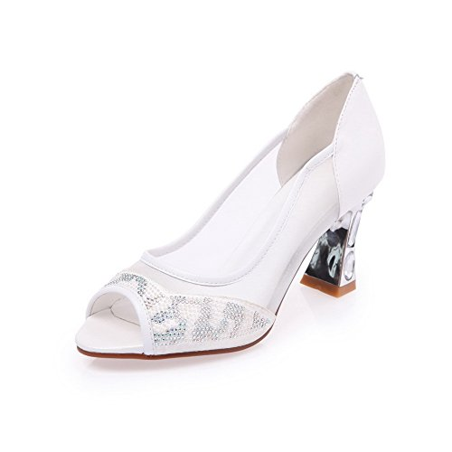 Amoonyfashion Donna Materiale Morbido Pull-on Peep-toe Tacchi Alti Sandali Bianchi