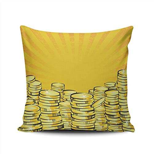 WULIHUA Pillow Covers Golden Money Stacks Gold Coins The Shining Wealth Sofa Durable Modern Pillow Case Decorative Custom Throw Pillow Cases Double Sides Printed Square 22x22 Inches