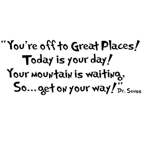 Place Decals (CiCy Dr seuss You're off to great places... Wall Vinyl Sticker Decals Quote Saying Decor Art Bedroom Design Mural)