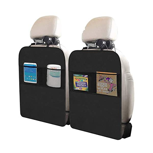 Freddie and Sebbie Kick Mats- Luxury Car Seat Back Protectors 2 Pack, Perfect Backseat Organizer and Seat Covers For Car