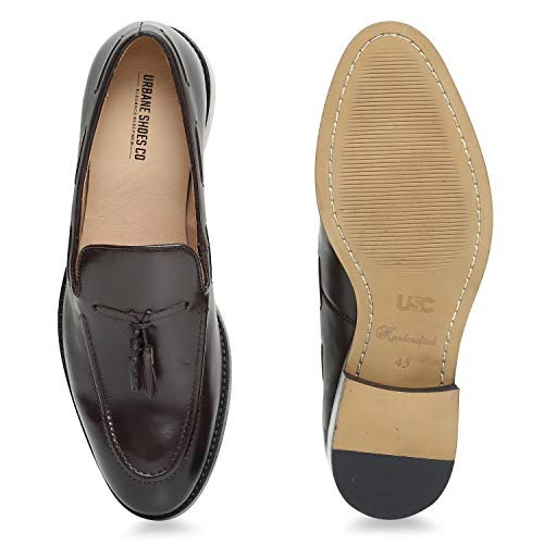 Urbane Shoes Co Handcrafted Genuine Cowhide Leather Shoes Men Classic Tassel Semi Formal Loafer Mens Dress Shoes Chocolate Brown