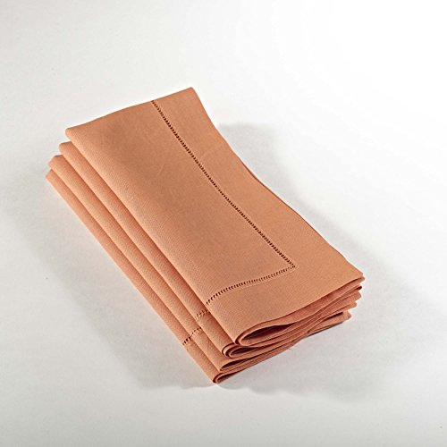 Handmade Basic Hemstitch Napkins, 20×20, 4-Piece Set, Various Colors (Persimmon)