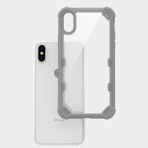 Price comparison product image iPhone X Case, Mybat FreeStyle Challenger PC/TPU Rubber Case Cover For Apple iPhone X, Clear/Gray