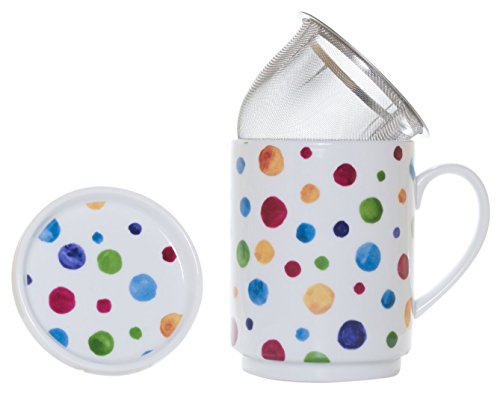 (The CIJA Dots-Tea Porcelain with Stainless Steel Filter, White )