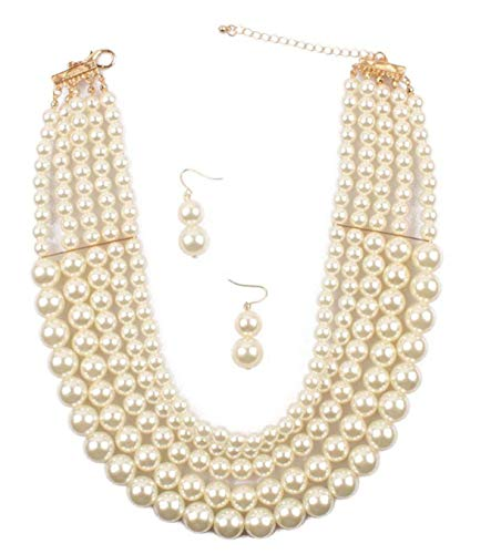 Shineland Elegant 5 Layer Strand Faux Pearl Cluster Collar Bib Choker Necklace And Earrings Suit -