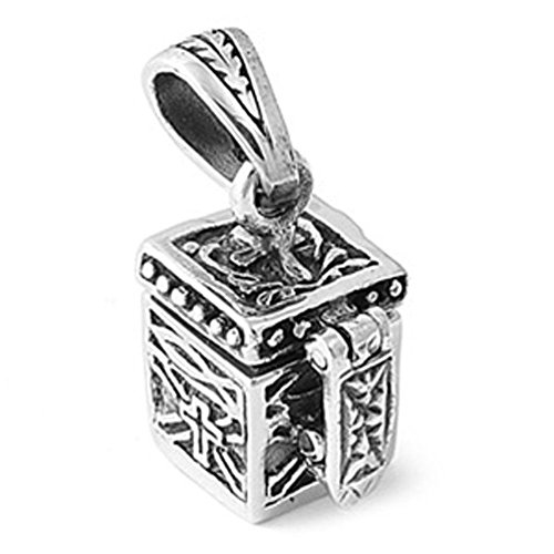 - Prayer Box Pendant .925 Sterling Silver Charm - Silver Jewelry Accessories Key Chain Bracelet Necklace Pendants