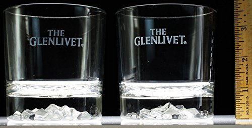 Glenlivet Single - Set of 2 Glenlivet Single Malt Scotch Whiskey Diamond Ice Cut Lowball Rocks Glasses