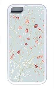 iPhone 5c case, Cute Blue Pink Flower iPhone 5c Cover, iPhone 5c Cases, Soft Whtie iPhone 5c Covers