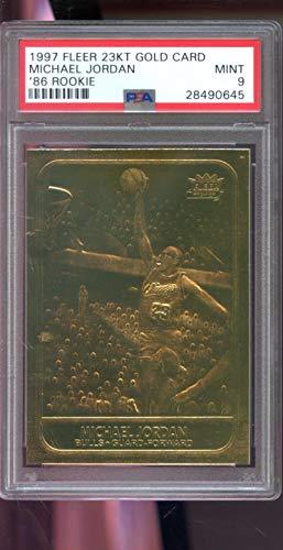 1997-98 Fleer 23KT Gold 1986 Fleer ROOKIE REPRINT '86 Michael Jordan Insert 4709/10000 MINT PSA 9 Graded NBA Basketball Card