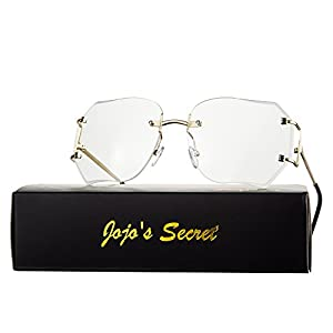 JOJO'S Secret Oversized Rimless Sunglasses,Retro Clear Lens Eyewear For Women (Clear, 2.5)