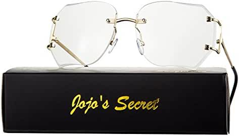 JOJO'S Secret Oversized Rimless Sunglasses,Retro Clear Lens Eyewear For Women JS013