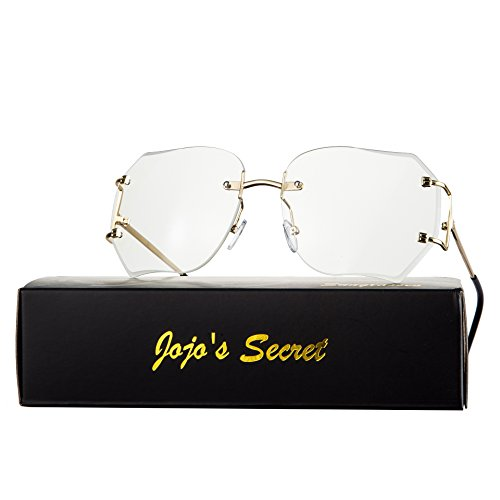 JOJO'S Secret Oversized Rimless Sunglasses,Retro Clear Lens Eyewear For Women (Clear, - Sunglasses Fashion Big