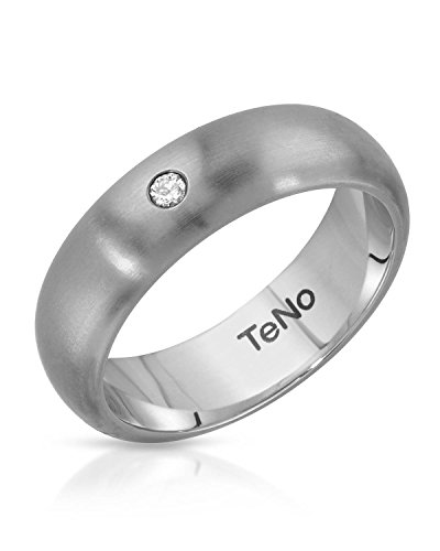 - Teno Stainless Steel 0.04 CTW Color G, VS2 Diamond Band Unisex Ring. Ring Size 8.5. Total Item weight 5.7 g.