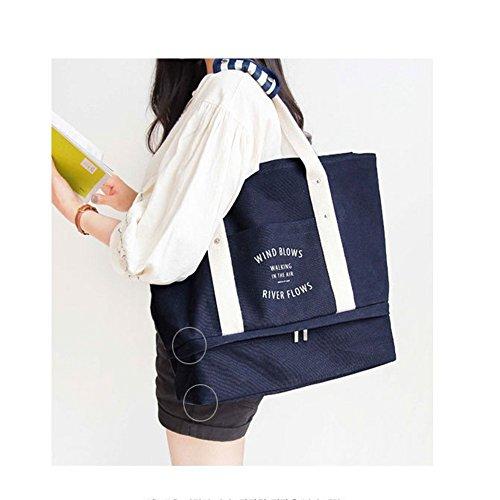 Fieans Hohe Kapazitaet leichtes Canvas Handtasche fuer 3-5 Tage Reise dauerhafte Leinwand Wochenende Bag hochwertige Reisetasche Tasche Seesack sportliche Ausruestung fuer Jugendliche-Navy Blau