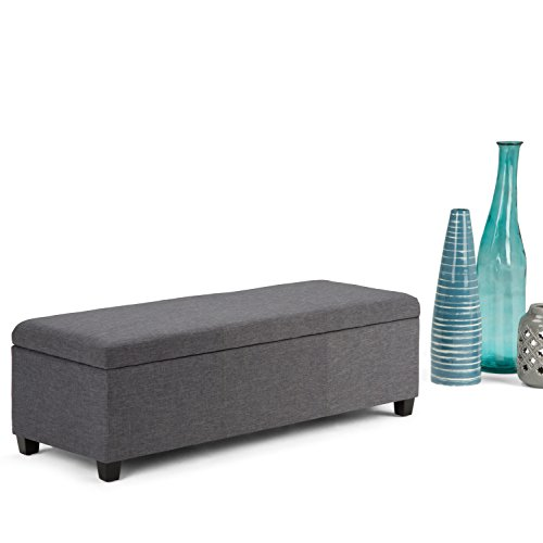 Simpli Home Avalon Linen Rectangular Storage Ottoman Bench, Large, Slate Grey