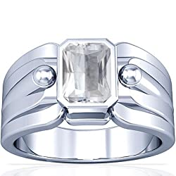 18K White Gold Emerald Cut White Sapphire Solitaire Ring