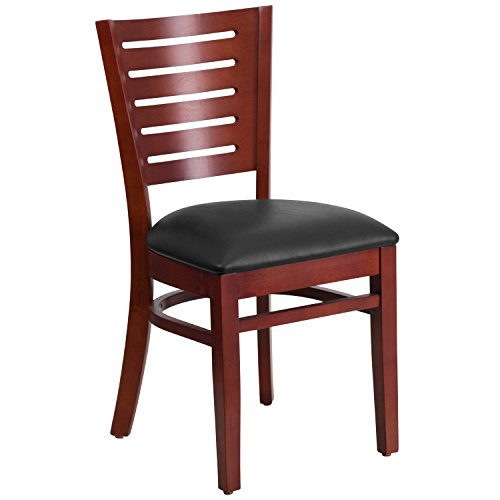 Flash Furniture Darby Series Slat Back Mahogany Wood Restaurant Chair - Black Vinyl - Chair Upholstered Slat Back