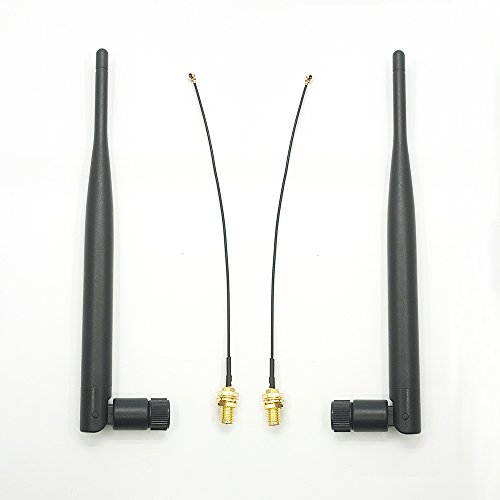 HINDUSTRY 2 x 2.4GHz 6dBi Indoor Omni-directional Wifi Antenna 802.11n/b/g with RP-SMA Female Connector + 2 x 15cm/6