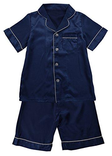 JOYTTON Kids Satin Pajamas Set PJS Short Sleeve Sleepwear Loungewear Dark ()