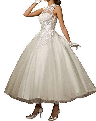 Erosebridal Knöchellangen Brautkleid Hochzeitskleid Weiß Spitze Tüll SpfwBpqY