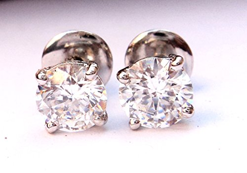 Solitaire Style 925 Sterling Silver Lab White Diamond Stud Earrings Men Women Jewelry ()