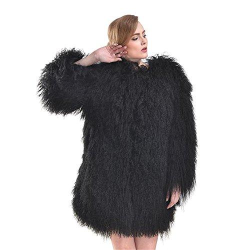 SPRINGWIND Genuine Mongolian Lamb Fur Coat Long Sleeve Waistcoat Jacket Outwear For Women