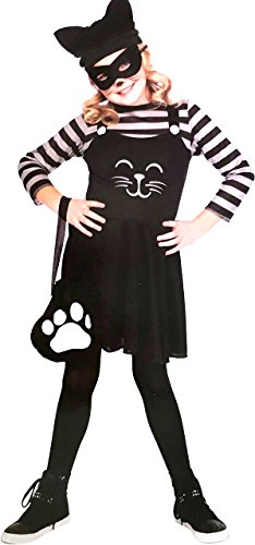 Girl's Cat Burglar Halloween Costume - Dress, Hat, Eye Mask, Tail and Pouch -